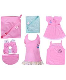 Jo Kidswear Clothing Gift Set Pack of 7 - Pink And Blue