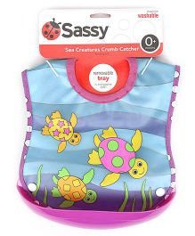 Sassy Crumb Catcher Waterproof Feeding Bib With Removable Tray - Turtle Print