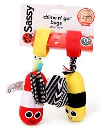 Sassy Chime n Go Bugs Stroller Clip On Red And Yellow - Length 18 cm