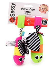 Sassy Chime n Go Bugs Stroller Clip On Green And Pink - Length 18 cm