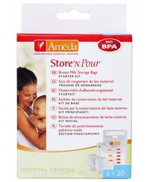 Ameda Store N Pour Breast Milk Storage Bags - 20 Pieces