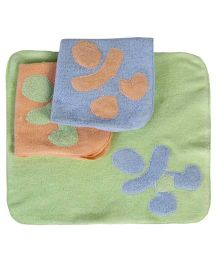 Child World- Set of 3 Face Towels With Applique - Light Green,Peach And Light Blue
