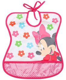 Disney International Minnie Mouse Tie Bib - Dark Pink And White