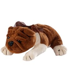 Soft Buddies Lying Bull Dog Soft Toy Dark Brown - Height 7 Inches