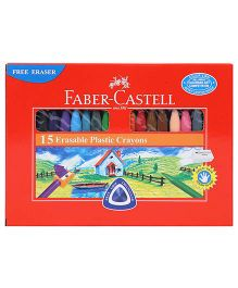 Faber Castell Erasable Plastic Crayons - 15 Pieces