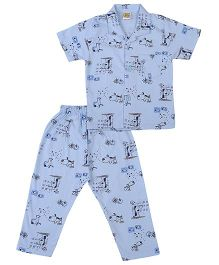 Little Half Sleeves Night Suit Puppy Print - Sky Blue