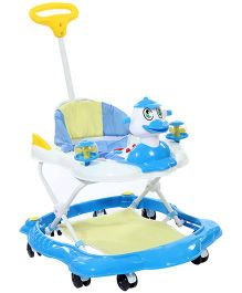 Musical Baby Walker With Push Handle - Aqua Blue And White