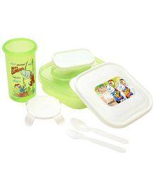 Pratap Hungry Time Lunch Box Kit Hiroo Print - Green
