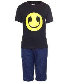Gvavas Half Sleeves T-Shirt & Denim Capri - Black And Blue