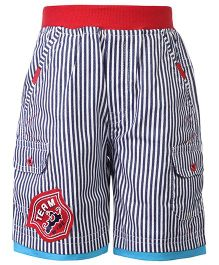 Cucumber Stripe Shorts Team Wide Patch - Black And Red