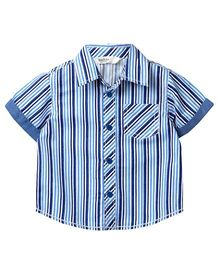 Beebay Stripes Shirt Turn Up Sleeves - Blue