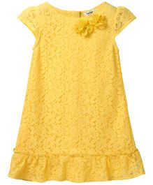 Beebay Short Sleeves Lace Party Dress - Yellow