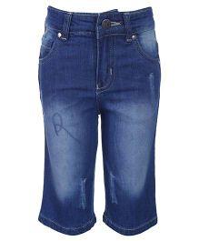 Reve Denim Shorts With Rib - Blue