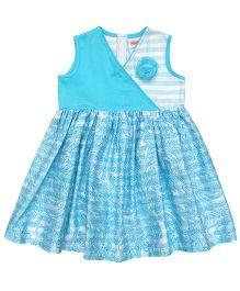 Campana Sleeveless Paisley Crossover Dress - Blue