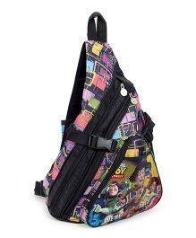 Toy Story Cartoon Print Body Strap Sling Bag Black - 14 Inch