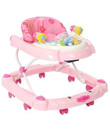 Musical Baby Walker With Play Tray - Pink And White