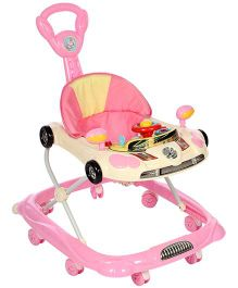 Musical Baby Walker With Play Tray Vehicle Design - Pink And Cream