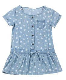 Fox Baby Short Sleeves Drop Waist Frock Floral Print - Blue