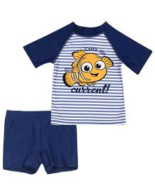 Fox Baby Two Piece Kids Swimsuit Fish Print - Navy Blue