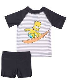 Fox Baby Two Piece Kids Swimsuit Raglan Sleeves - Dark Grey