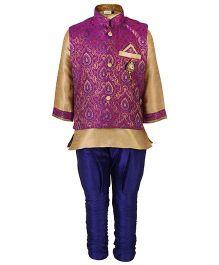 Babyhug Kurta And Jodhpuri Pajama With Jacket Self Design - Purple Blue And Golden