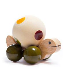 Oodees Wooden Jolly Turtle - Green And Yellow