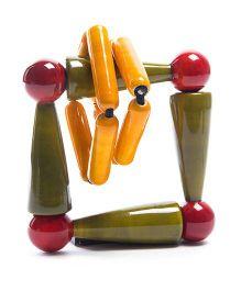 Oodees Wooden Rattle Peeko - Green And Yellow