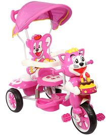 Tricycle With Canopy And Push Handle Cat Design - Fuchsia