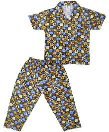 Cucumber Collar Neck Night Suit All Over Print  - Blue And Yellow