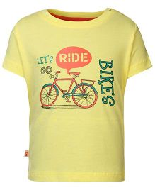 Baby League Half Sleeves T-Shirt Ride Print - Yellow