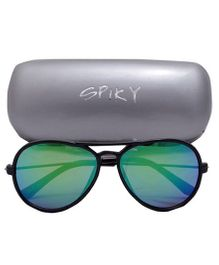 Spiky Aviator Sunglasses With Case - Blue