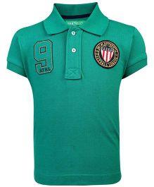 Palm Tree Half Sleeves Polo T-Shirt Football League Patch--Green