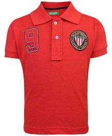 Palm Tree Half Sleeves Polo T-Shirt Football League Patch-Red
