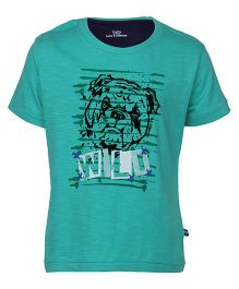 Bells and Whistles Half Sleeves T-Shirt Boxer Dog Print - Aqua Green