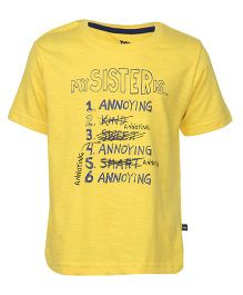 Bells and Whistles Half Sleeves T-Shirt Printed - Yellow