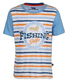 Bells and Whistles Half Sleeves T-Shirt Stripe Pattern - Blue