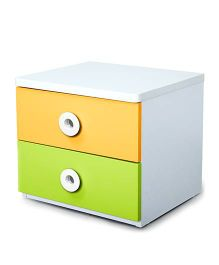 Alex Daisy Wooden Bedside Table - Prism - Yellow AndGreen