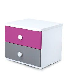 Alex Daisy Wooden Bedside Table Solo - Majenta
