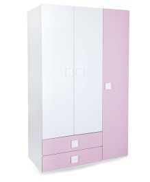Alex Daisy Wooden Three Door And Two Drawer Wardrobe - Pink