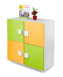 Alex Daisy Wooden Two Layer Bookcase - Yellow And Green