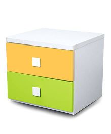 Alex Daisy  Wooden Bedside Table - Young America - Yellow And Green
