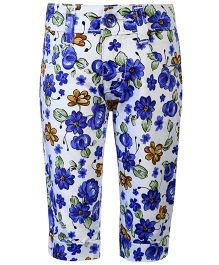 Babyhug Capri Floral Print - White And Blue