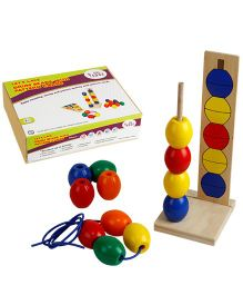 Eduedge Let's Lace Drum Beads With Pattern Cards - 25 Beads