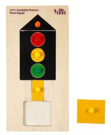 Eduedge Let's Complete Picture Road Signal - 6 Wooden Pieces