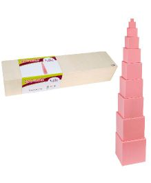 Eduedge Montessori Sensorial Pink Towers - 10 Wooden Cubes
