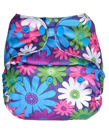 Bumberry Cloth Diaper Cover With One Bamboo Insert - Purple Flowers