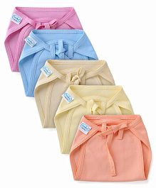 Babyhug Interlock Fabric Nappy With String Tie Up Large Solid Colors - Pack Of 5