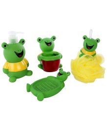 Bathroom Set Frog Design Pack Of 4 - Green And Yellow