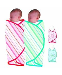 The First Years Organic Cotton Swaddler Stripes Print - Pack Of 2