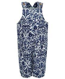 Nino Bambino Organic Cotton Dungaree Floral Print - Navy